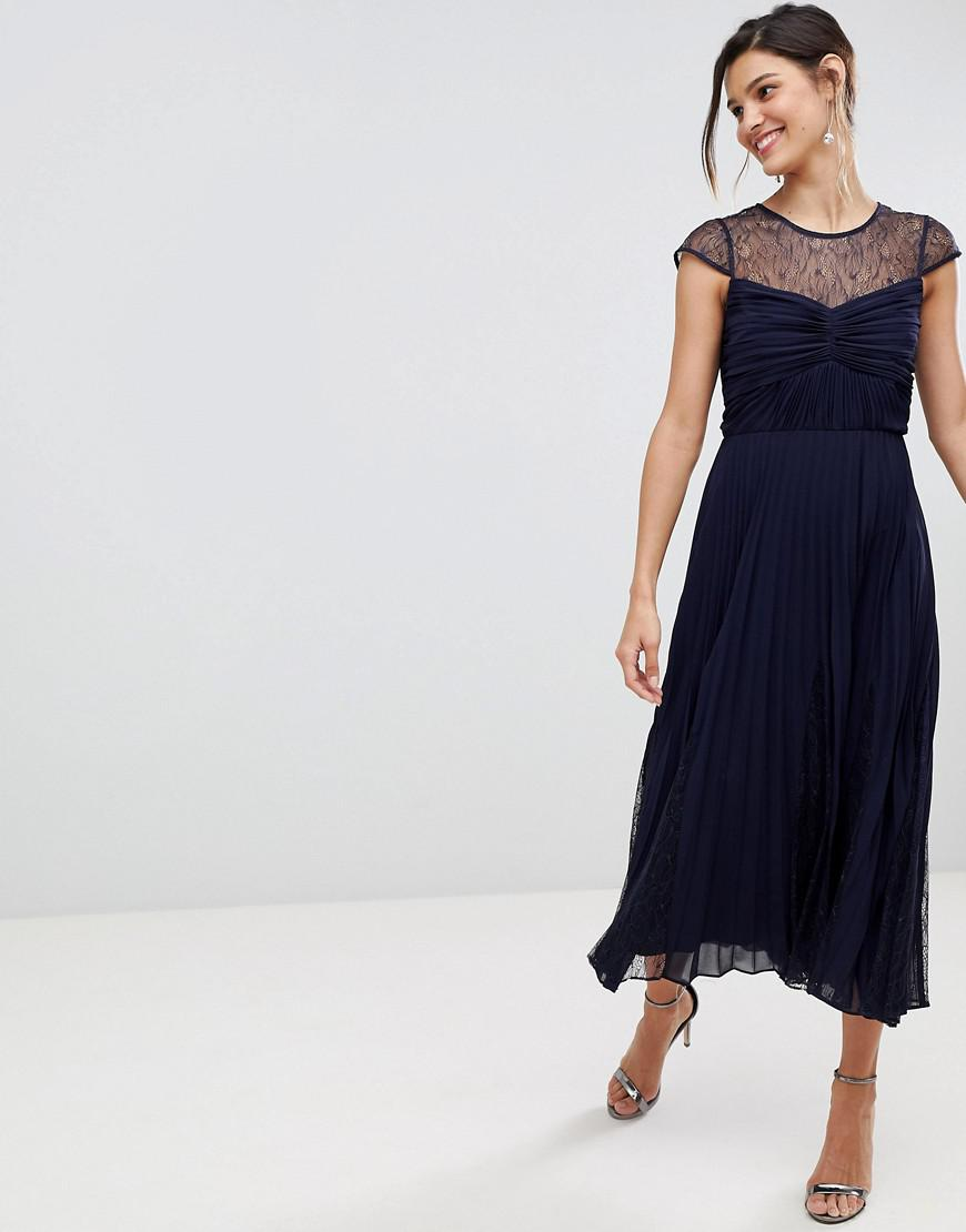 bbca518e7526 Coast Cleo Pleated Bridesmaids Dress With Lace Yolk in Blue - Lyst