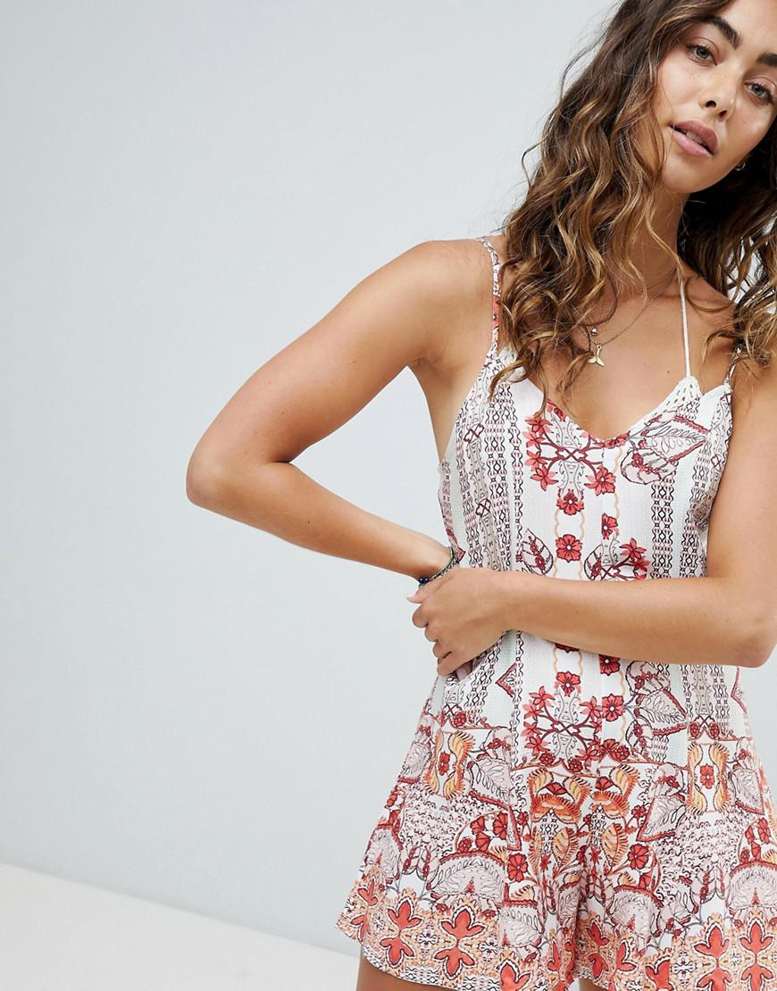 Somedays Lovin Sun Drenched Beach Romper In Pink Lyst Someday Floral Embroidery Top View Fullscreen