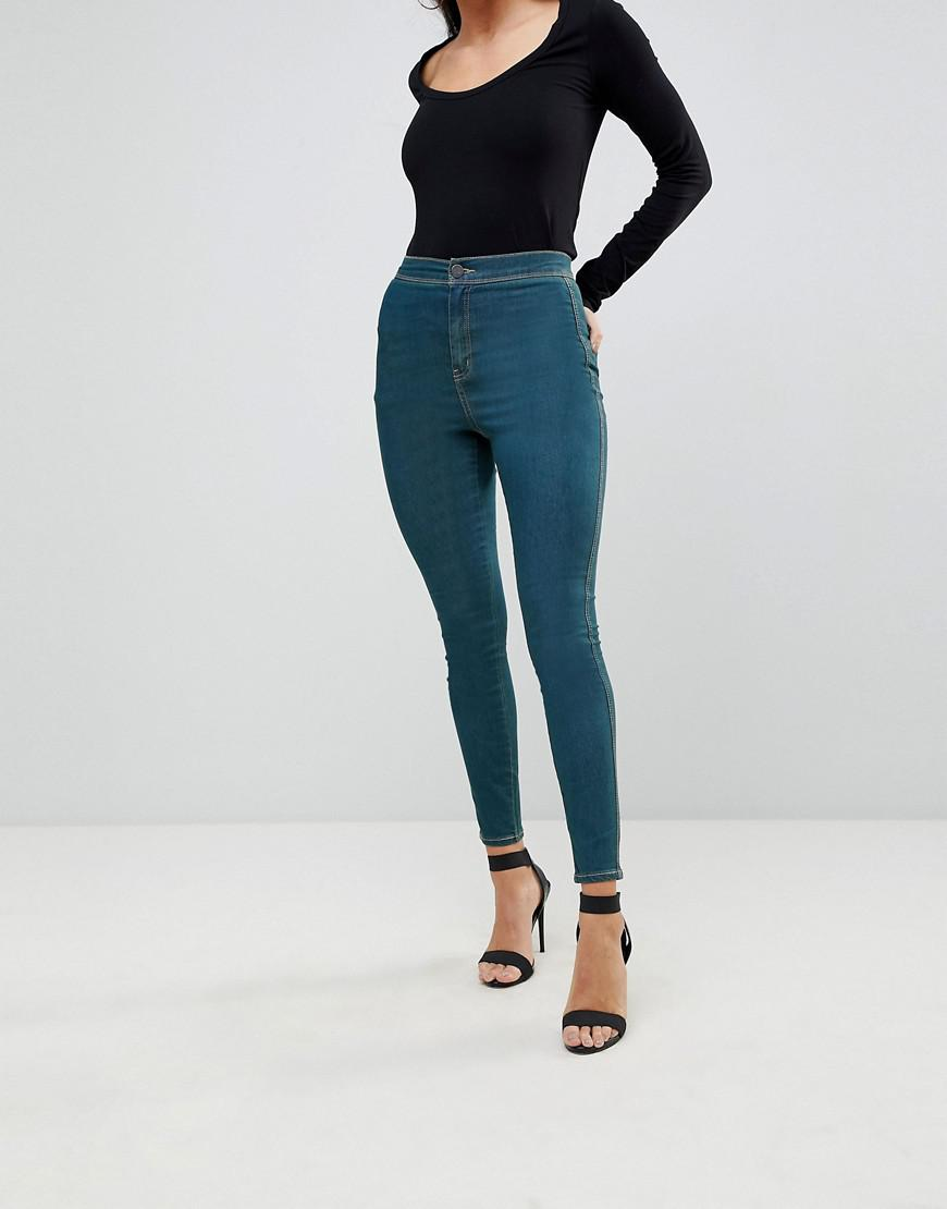 RIVINGTON High Waisted Jeggings In Fanchon Green Cast Wash - Green cast blue Asos 8dph0
