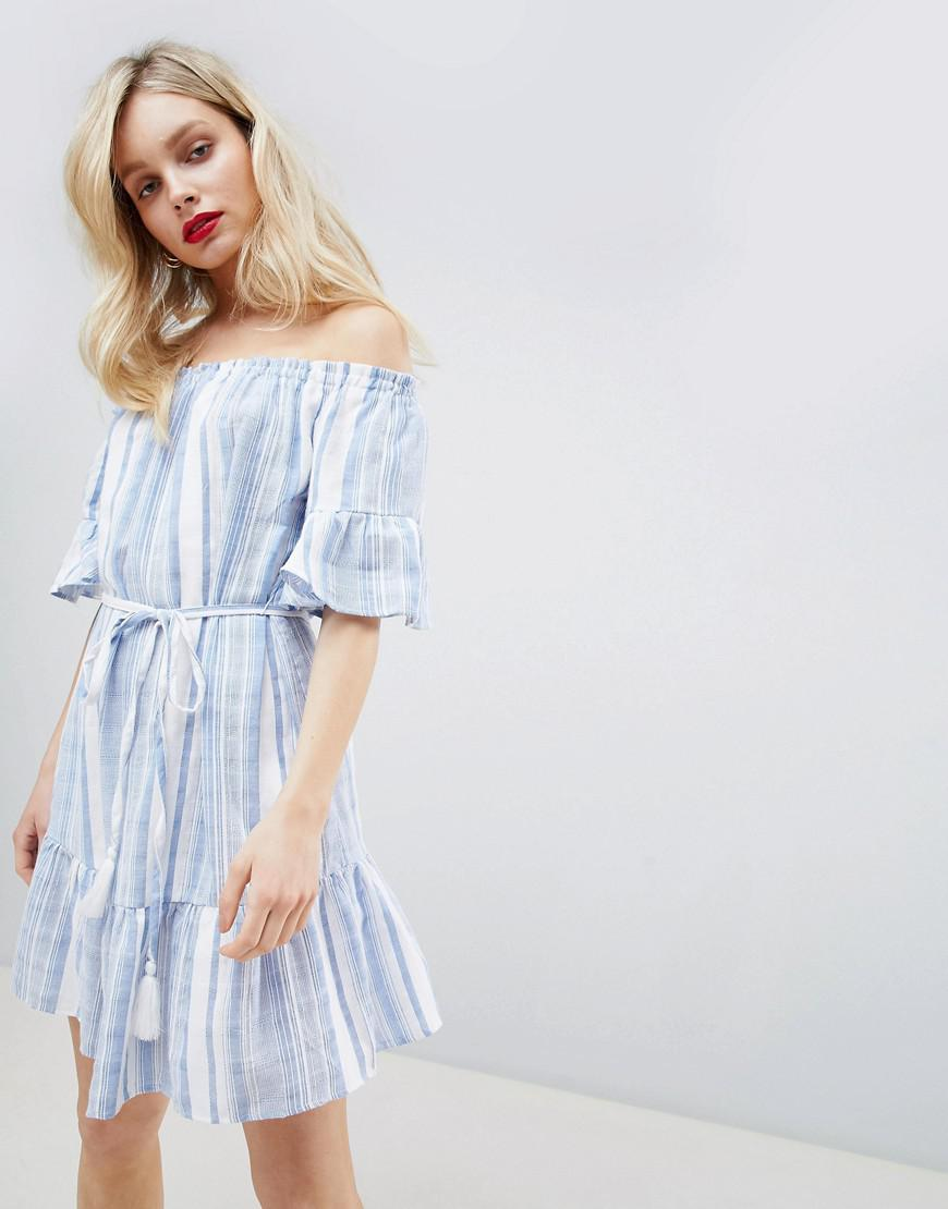 Lyst - New Look Stripe Bardot Sundress in Blue 60363a2ef
