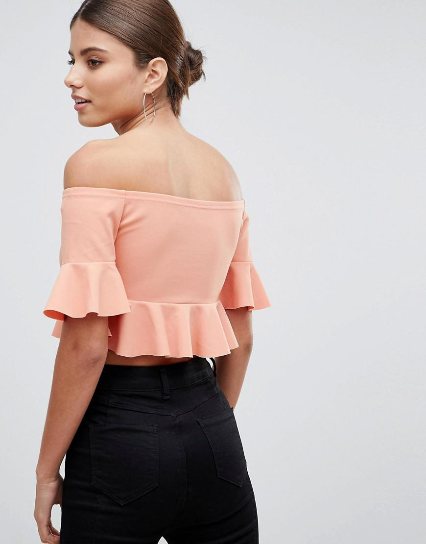 432f8dda881 ASOS Bardot Crop Top With Fluted Sleeve In Crepe in Pink - Lyst