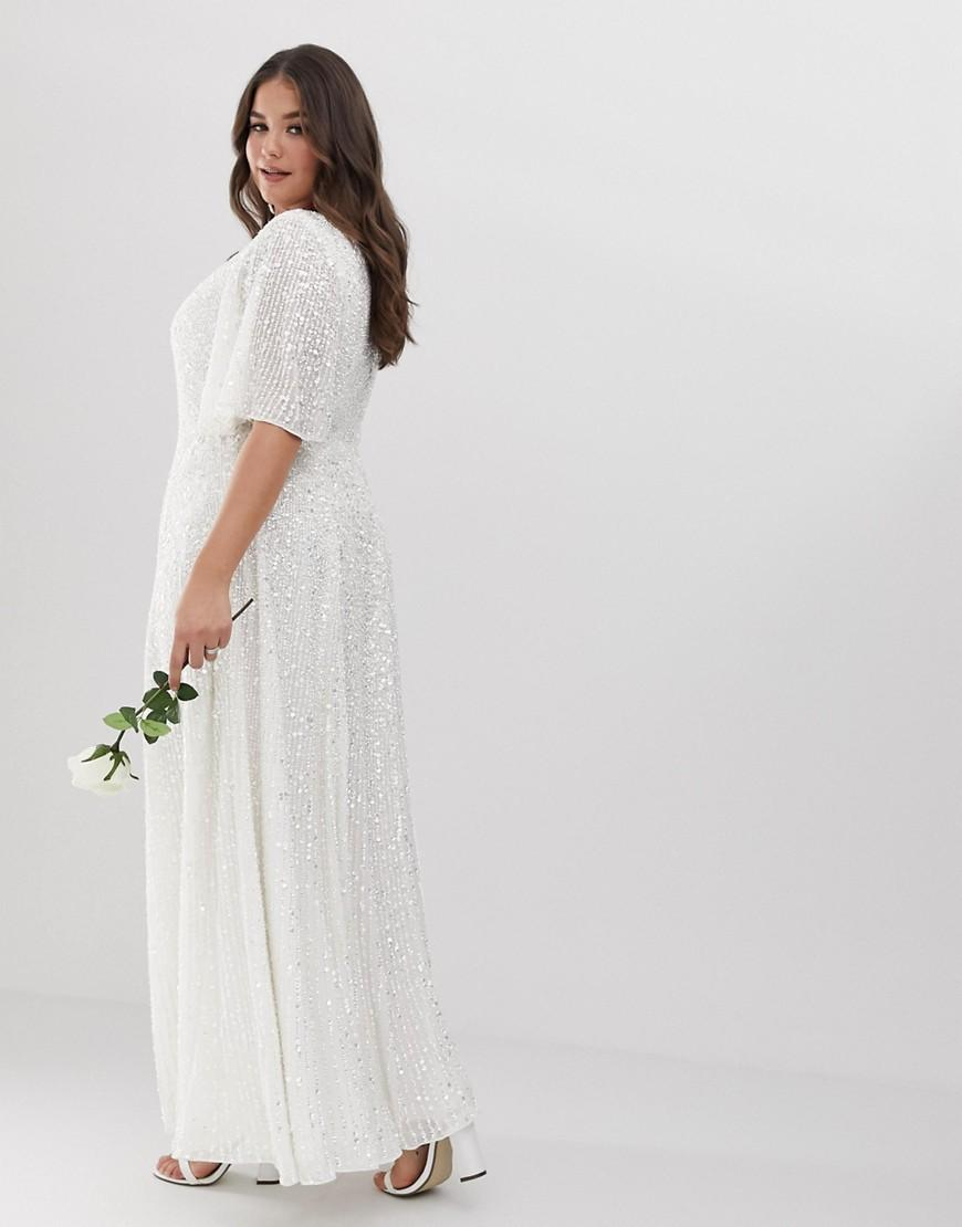 0f9fad02dd2 ASOS Asos Edition Curve Flutter Sleeve Sequin Maxi Wedding Dress in ...
