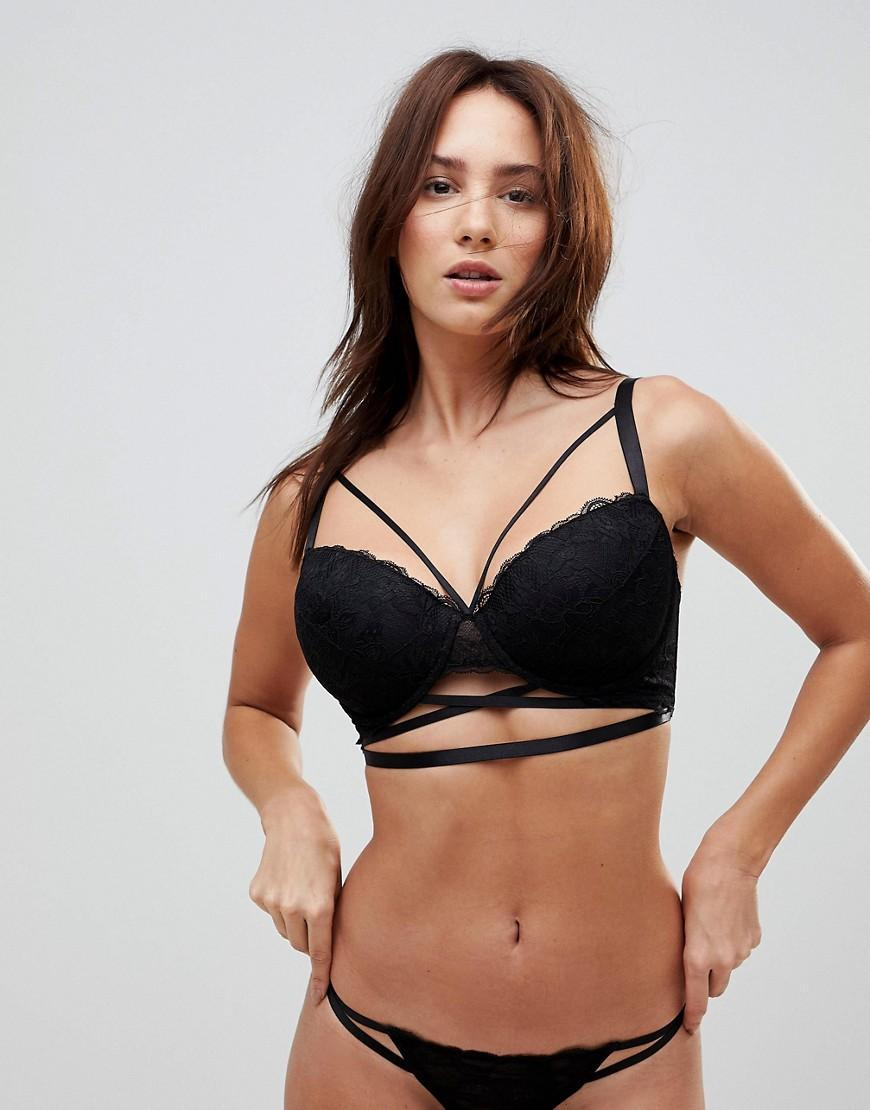 a2a48fa9660fb Lyst - ASOS Asos Fuller Bust Becca Strappy Lace Padded Bra in Black