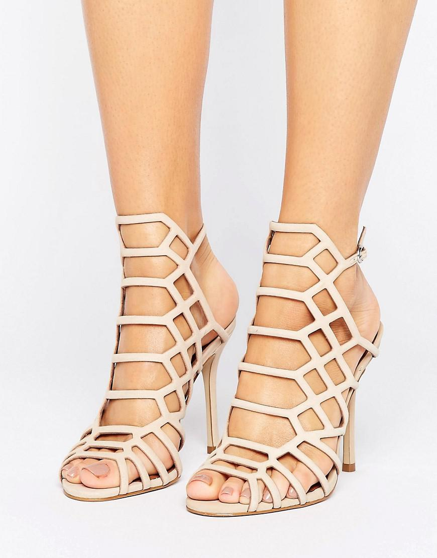 b892c9845a9 Lyst - Steve Madden Slithur Blush Caged Heeled Sandals in Pink