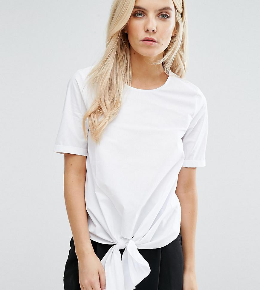 Poplin Tie Front Top - White New Look Petite Cheap And Nice Purchase Online Free Shipping Shop For Clearance Fashionable q9RlFINED5