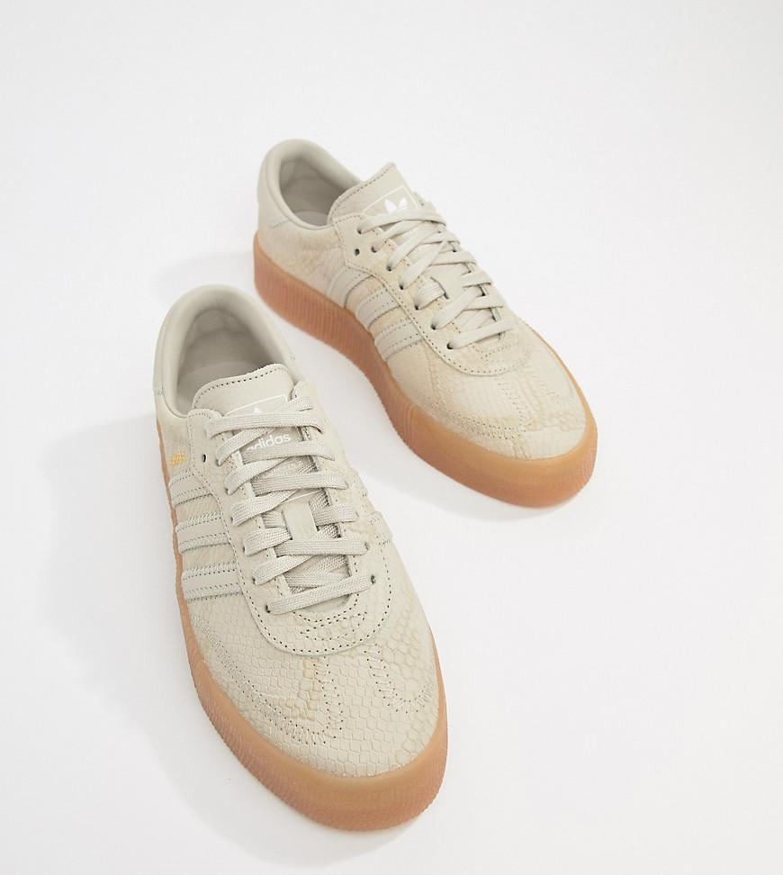 4a10ec57daf adidas Originals. Women s Natural Samba Rose Sneakers In Tan With Gum Sole