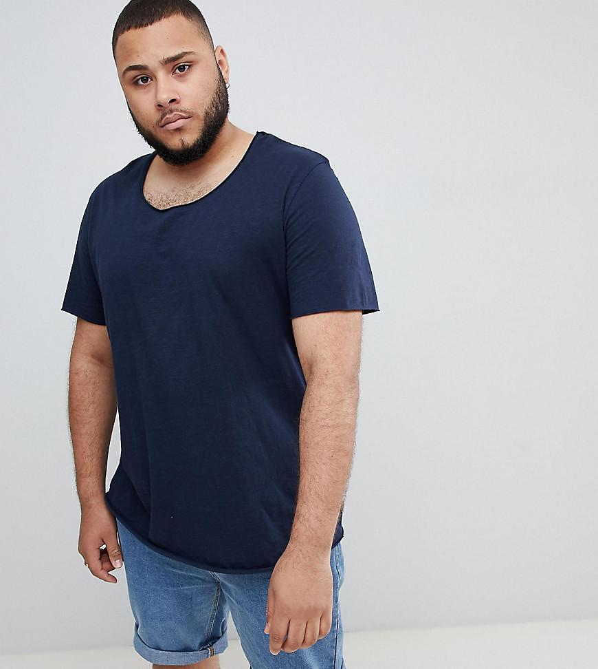 3e2eb23c Jack & Jones Essentials Plus Size Longline T-shirt With Raw Neck in ...