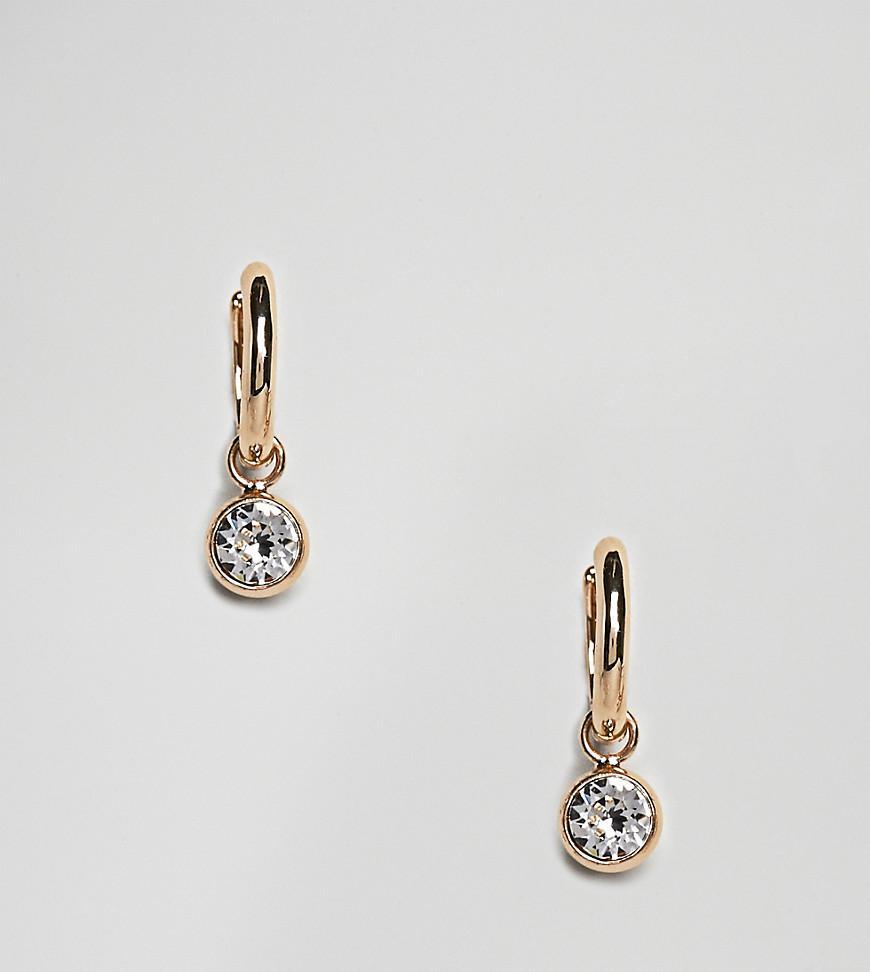 dbab49140 Accessorize Swarovski Gold Hoop Earrings With Diamante Detail in ...