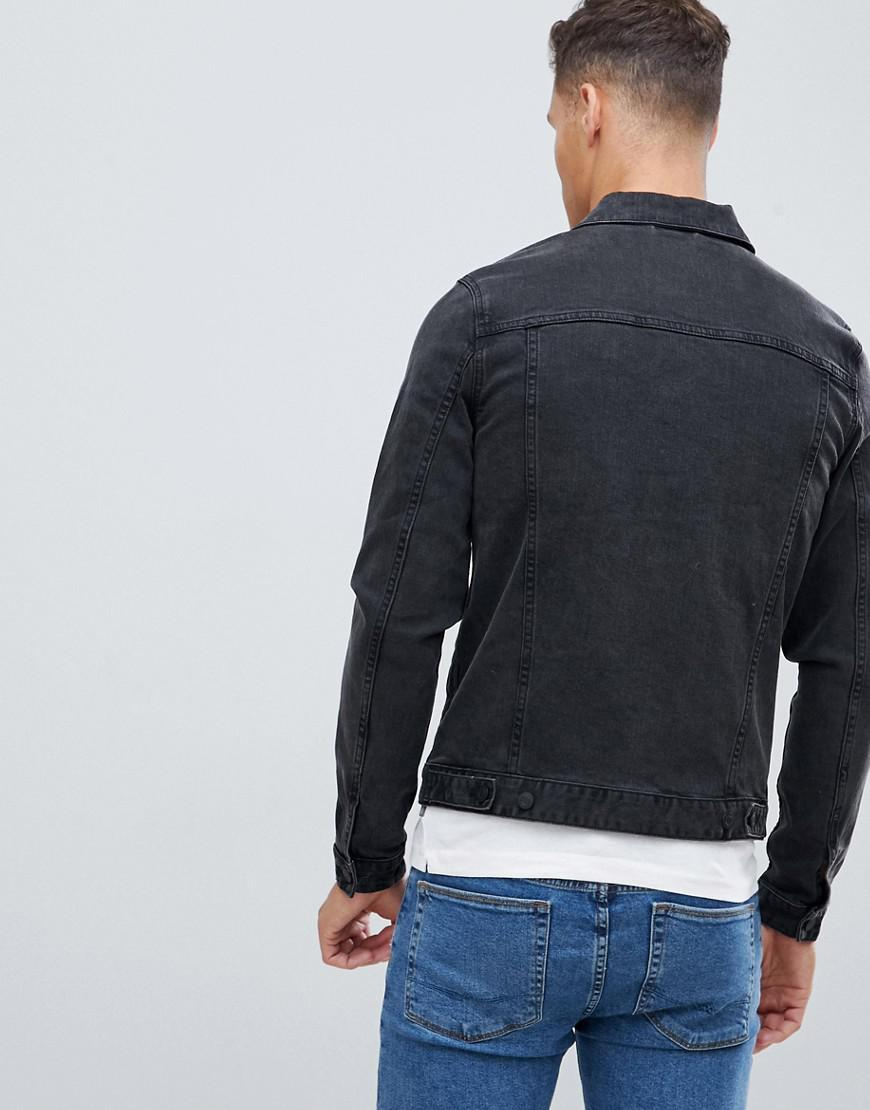ebc62800d997 ASOS Skinny Denim Jacket In Washed Black in Black for Men - Lyst