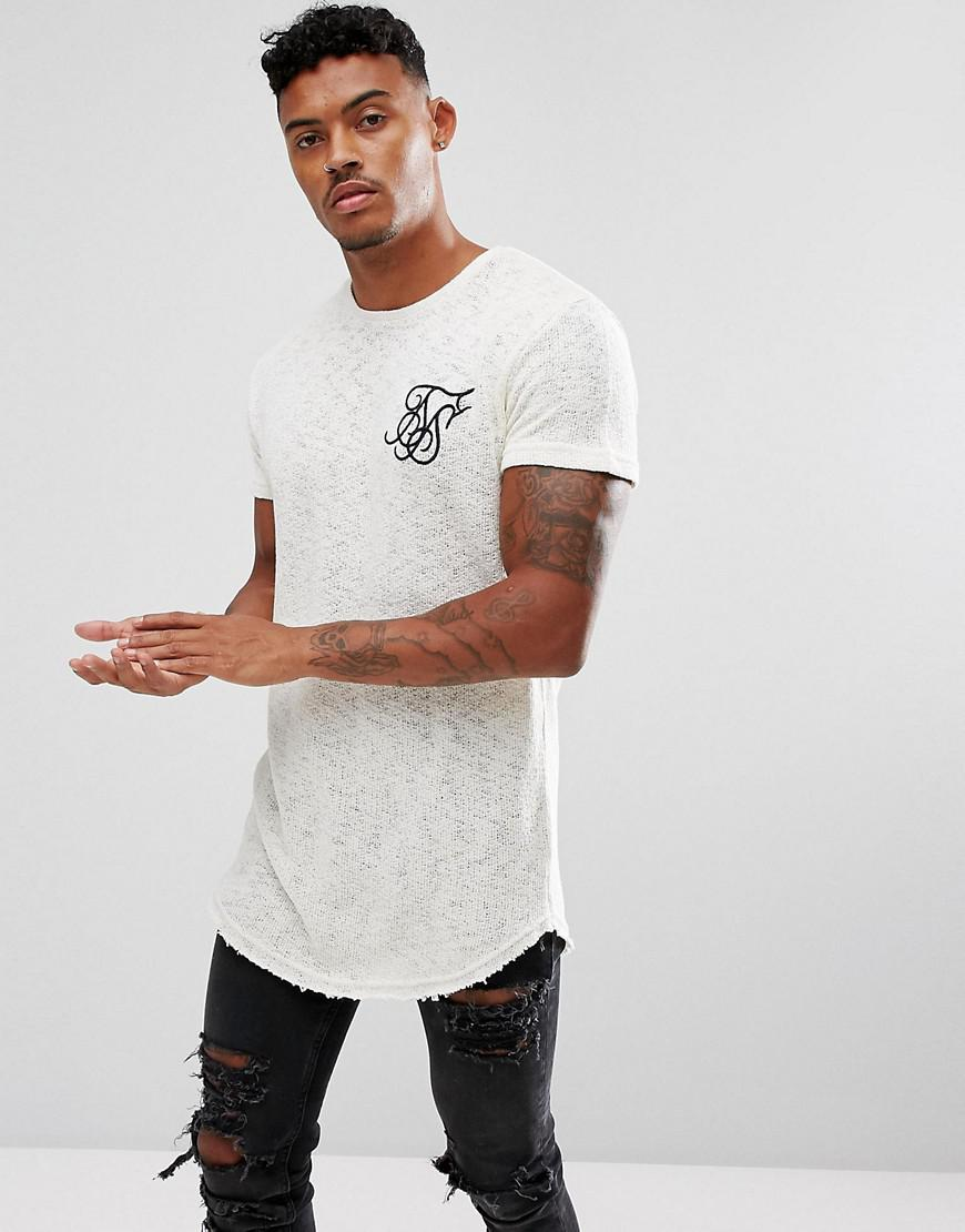 9fca972af5 SIKSILK Knitted T-shirt In White With Logo in White for Men - Lyst