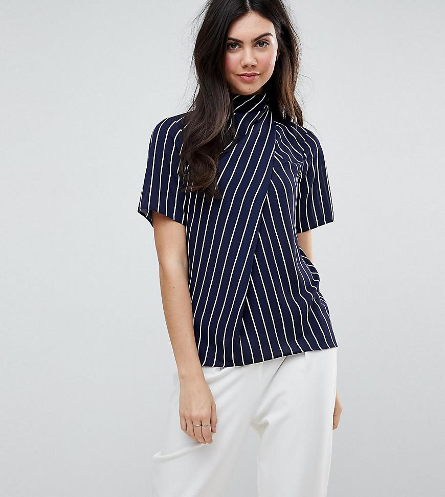 Lyst asos ruched high neck t shirt in stripe in blue for High neck tee shirts