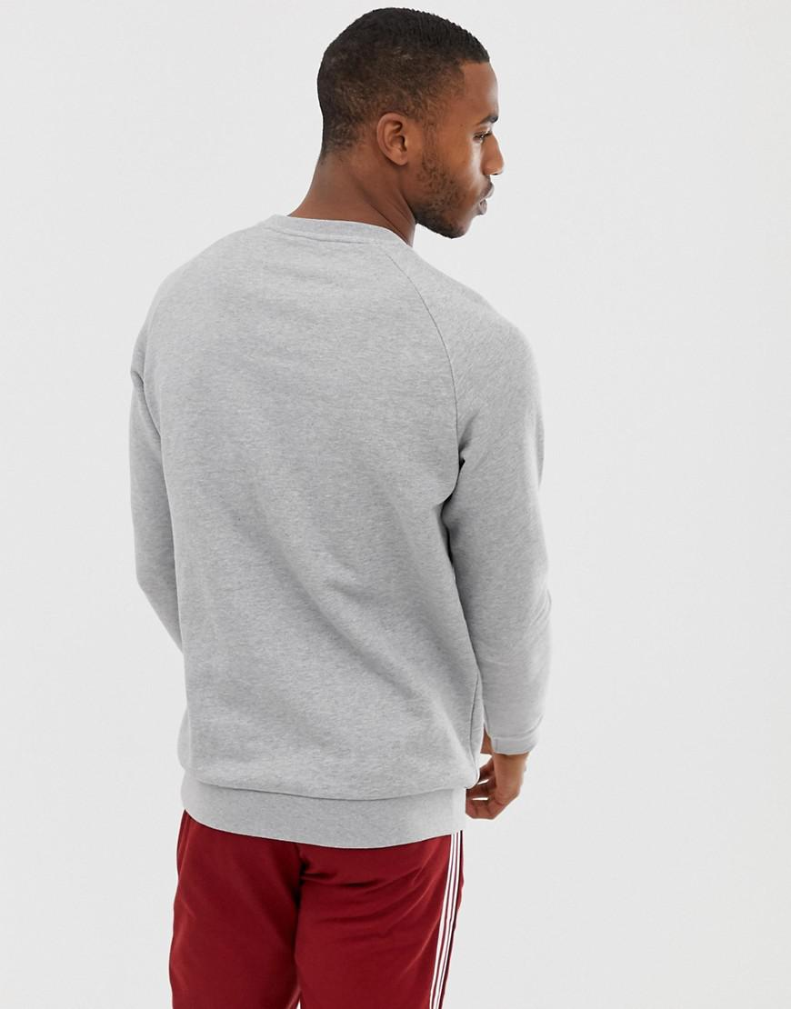 37032628065 adidas Originals Sweatshirt With Embroidered Small Logo Grey in Gray for Men  - Lyst