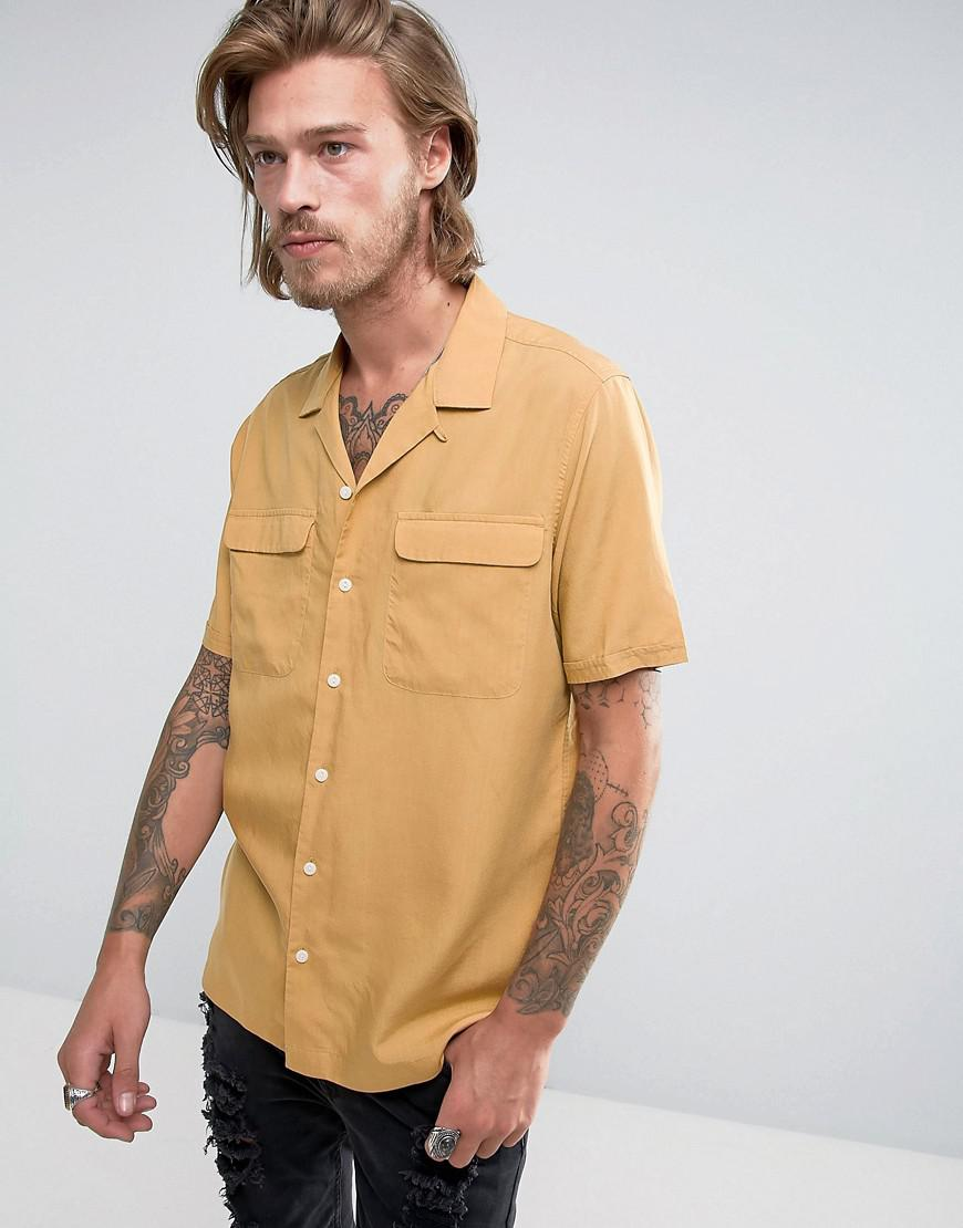 06fd9f0244b ASOS Regular Fit Shirt With Revere Collar In Mustard in Yellow for ...