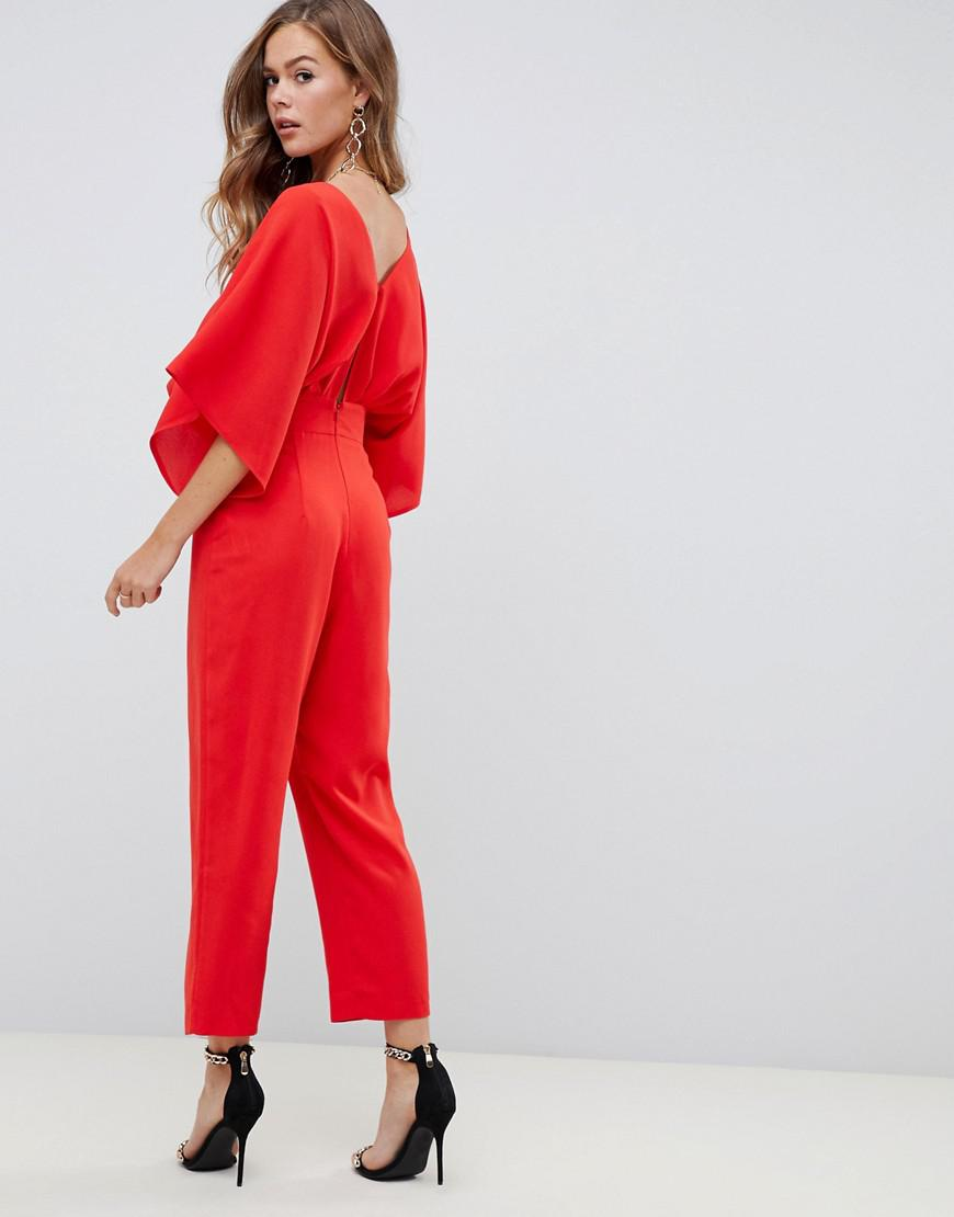 b41f63e77cd8 Lyst - ASOS Asos Design Petite Jumpsuit With Kimono Sleeve And Peg Leg in  Red - Save 13%