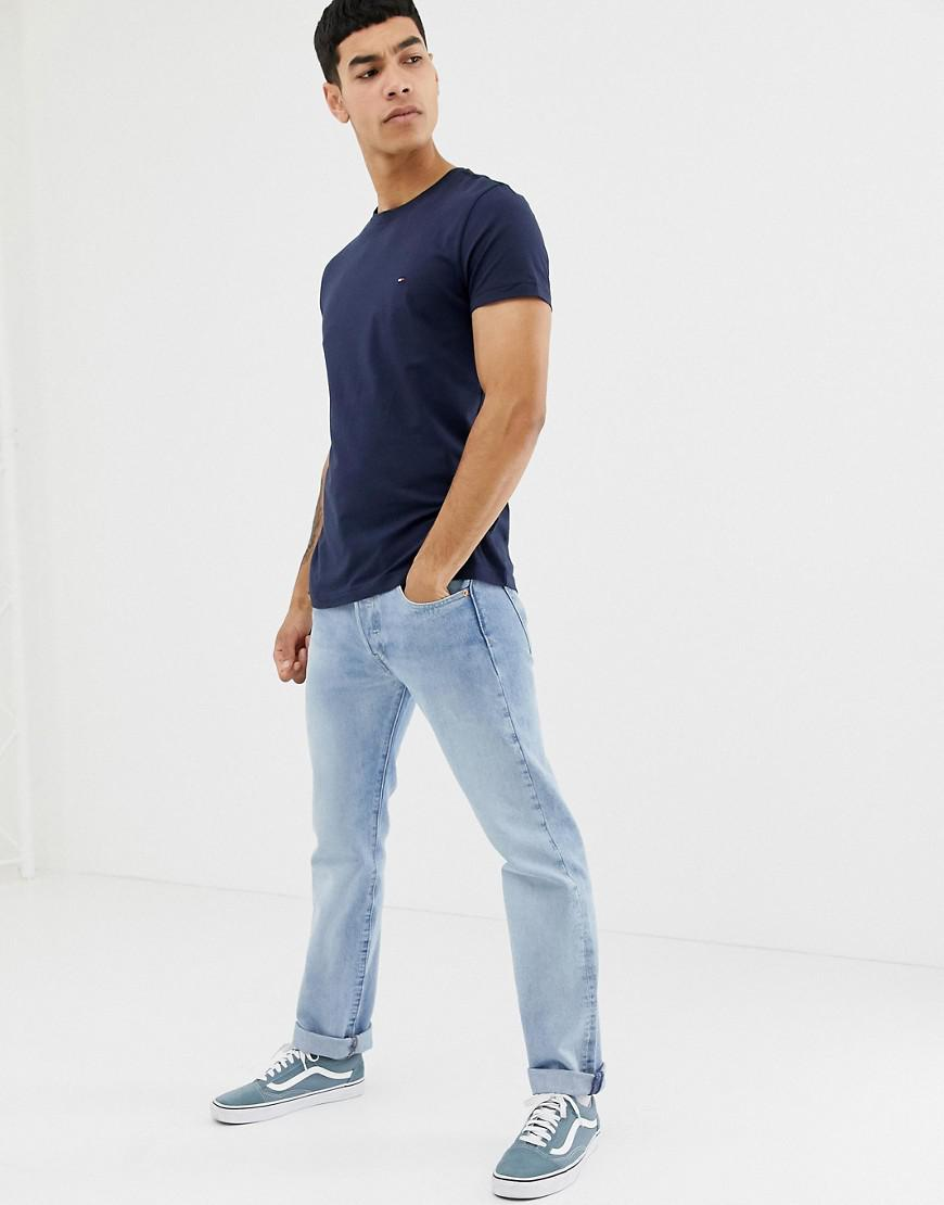 460347bc Tommy Hilfiger T-shirt With Flag Logo In Stretch Slim Fit Navy in ...