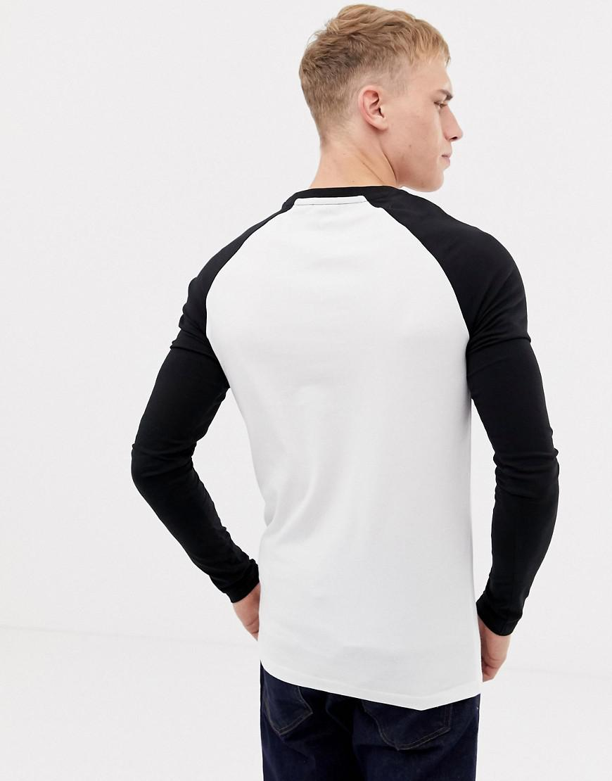 2c39d0fe9 Asos Long Sleeve Muscle Fit T-shirt With Contrast Raglan 2 Pack Save in  Black for Men - Lyst