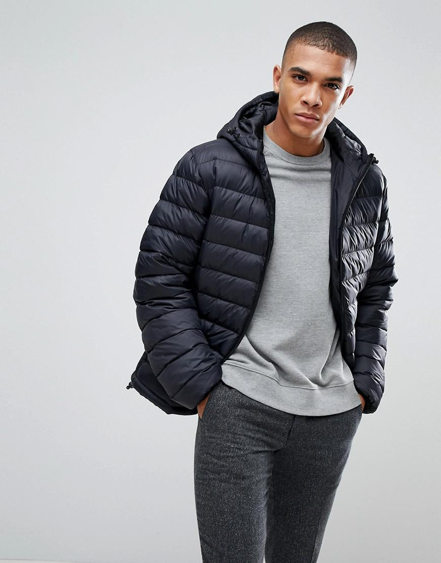 French Connection. Men's Black Padded Hooded Jacket