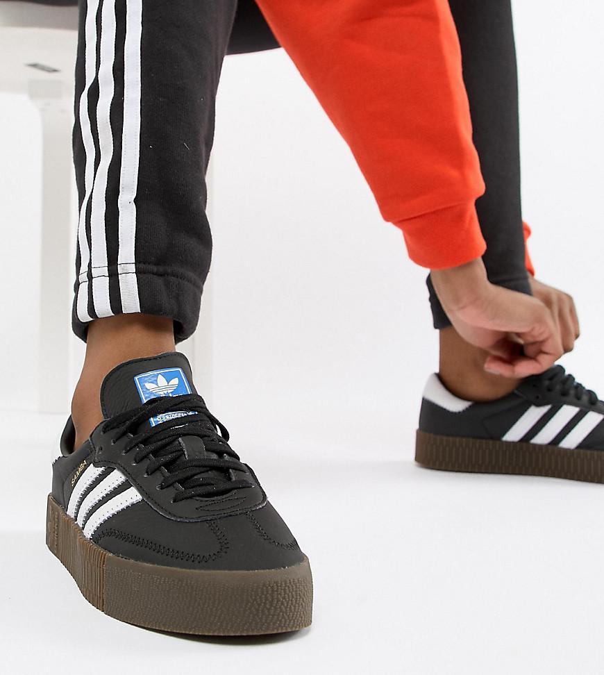 28ced25cb0b7 adidas Originals. Women s Samba Rose Trainers In Black With Dark Gum Sole