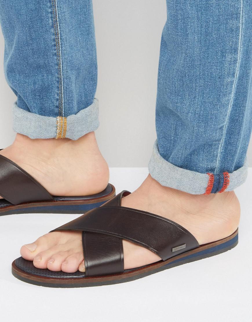 db39beba2806 Lyst - Ted Baker Punxel Leather Cross Over Sandals in Brown for Men