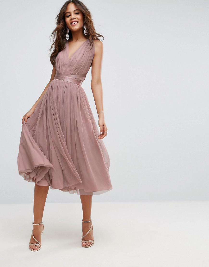 bd252bc2ddc19 ASOS Premium Tulle Midi Prom Dress With Ribbon Ties in Pink - Lyst