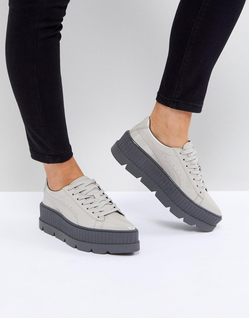 31bf20fa088a Lyst - PUMA X Fenty Patent Creepers In Grey in Gray