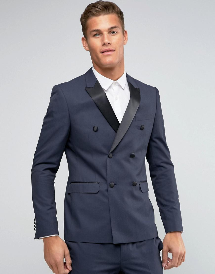 Lyst - Asos Skinny Suit Jacket Double Breasted With Tonal ...