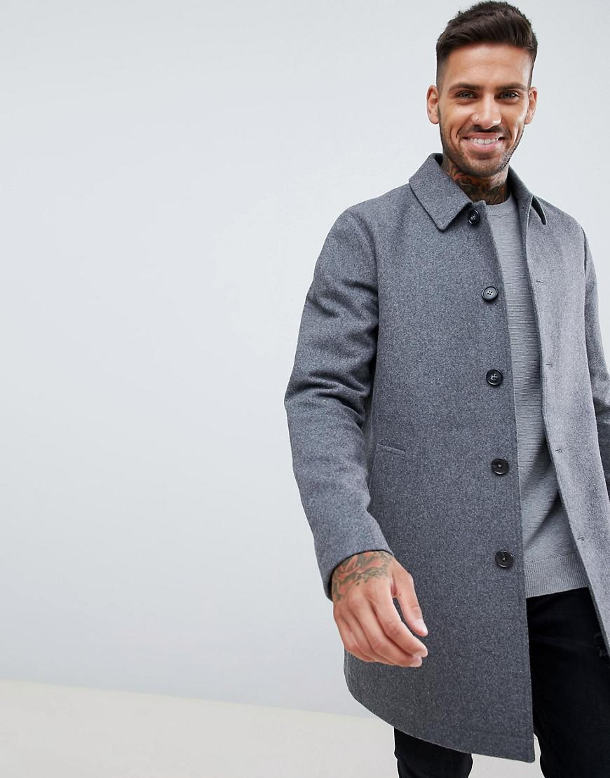 5db15c3ffcd7 ASOS Wool Mix Trench Coat In Light Grey in Gray for Men - Lyst