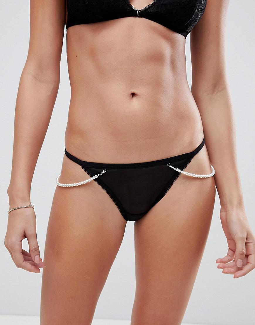 616f247f3202 Lyst - New Look Pearl Side Lace Brazilian Knickers in Black