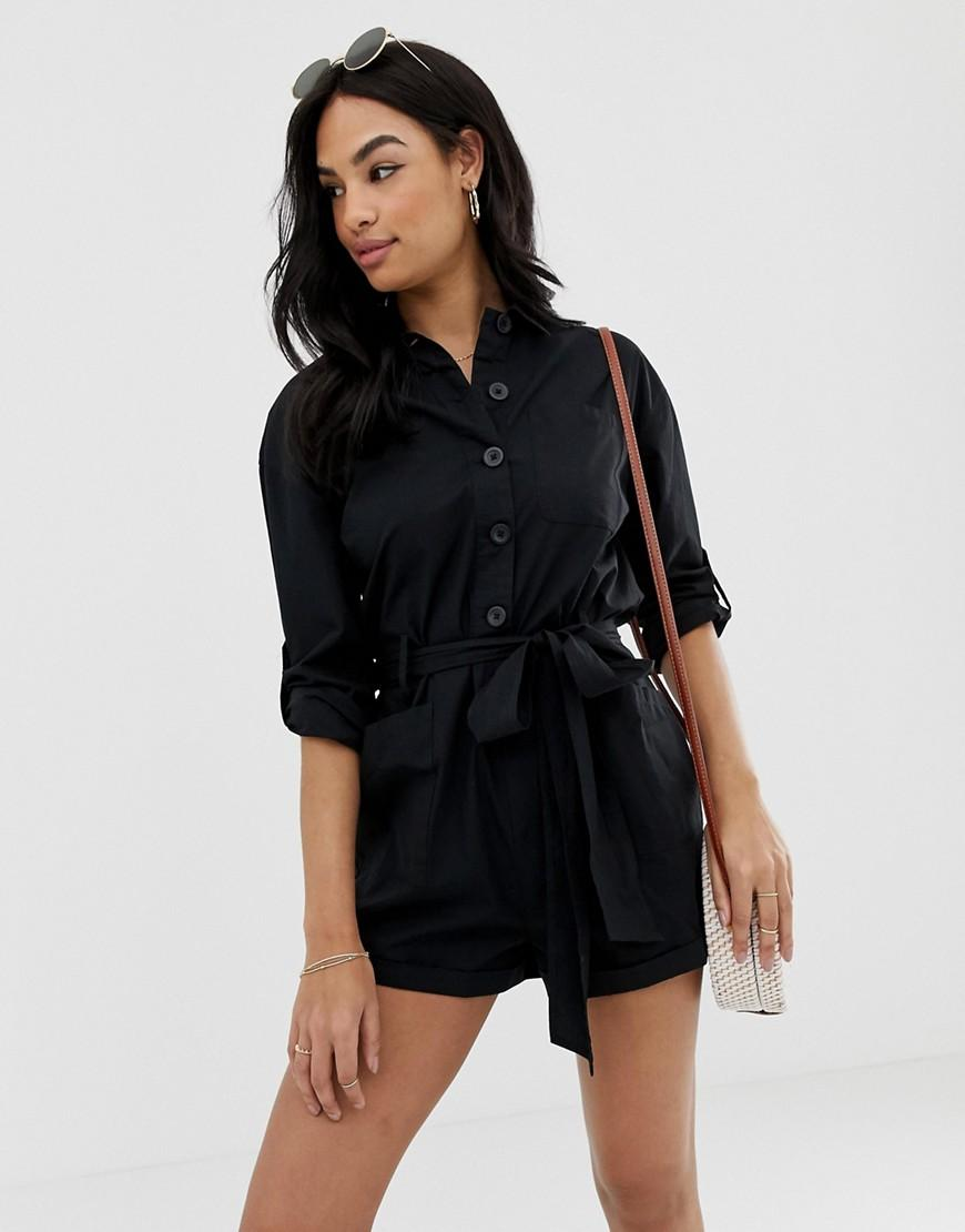 932ed793944 Lyst - ASOS Boiler Playsuit With Button Front And Tie Waist in Black