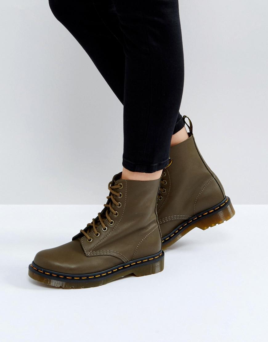 lyst dr martens pascal khaki 8 eye boots in green. Black Bedroom Furniture Sets. Home Design Ideas