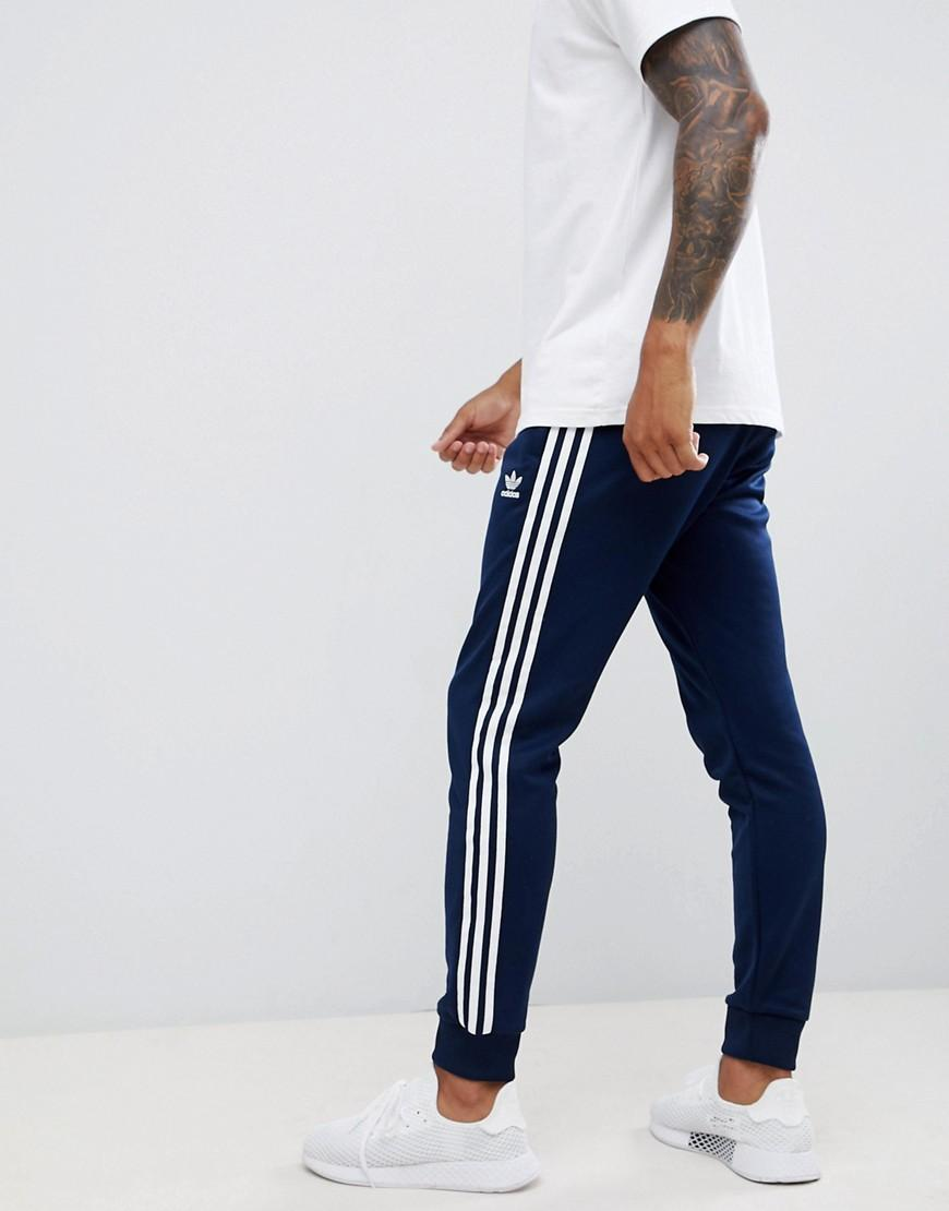 1f3392fed89a5 Lyst - adidas Originals 3-stripe Skinny joggers With Cuffed Hem In ...