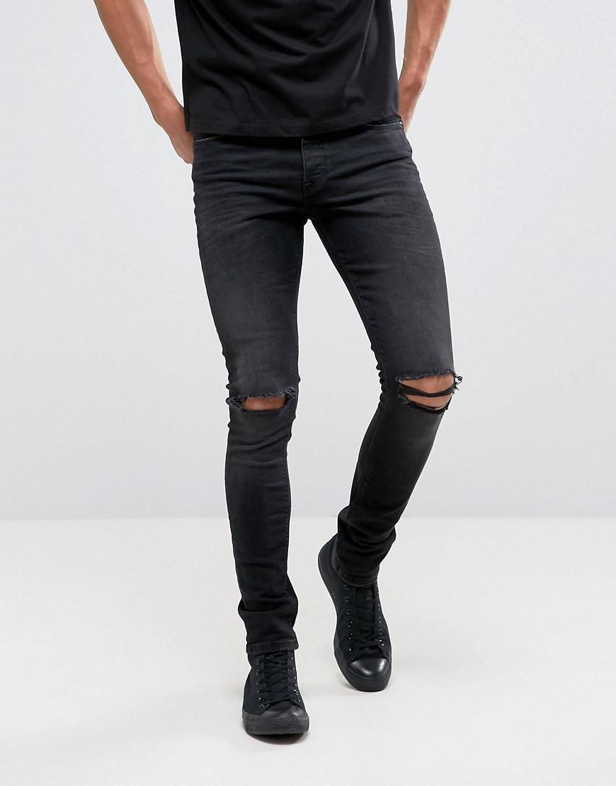 DESIGN super skinny 12.5oz jeans with knee rips in washed black - Washed black Asos ZvRB5O8ZX2
