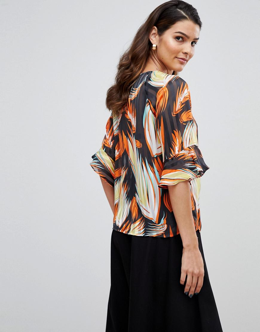 e27cf1f15617a8 Y.A.S Leaf Print Blouse With Sleeve Detail - Lyst