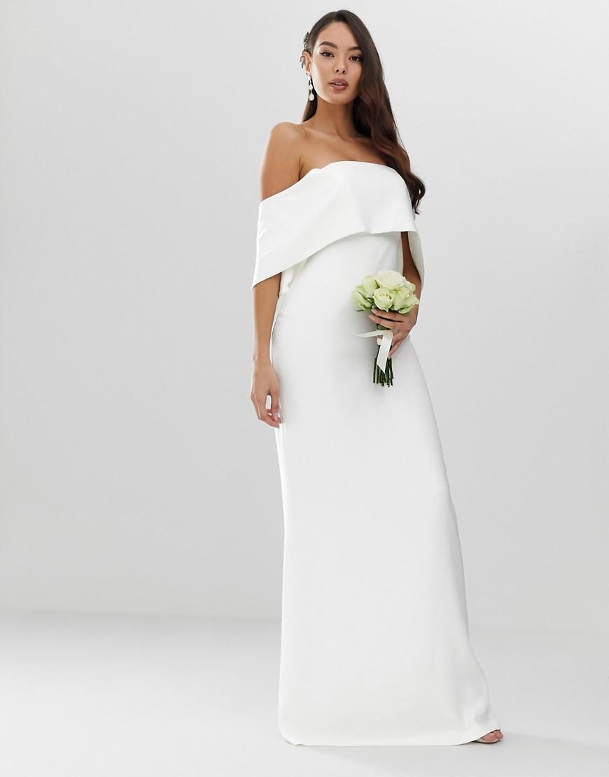 6a530d72435e8 Lyst - ASOS Crepe Off Shoulder Wedding Column Dress in White