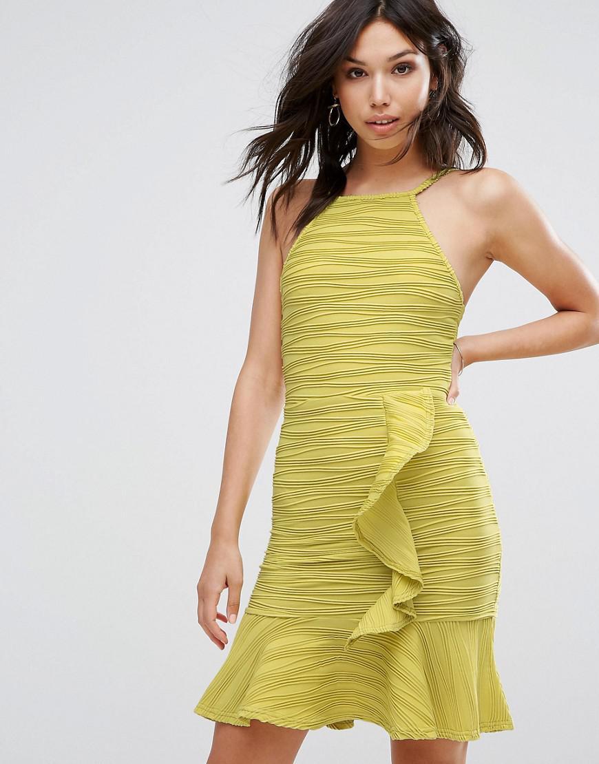 2fc42ac46ad7 Lyst - Boohoo Ruffle Front Mini Dress in Green