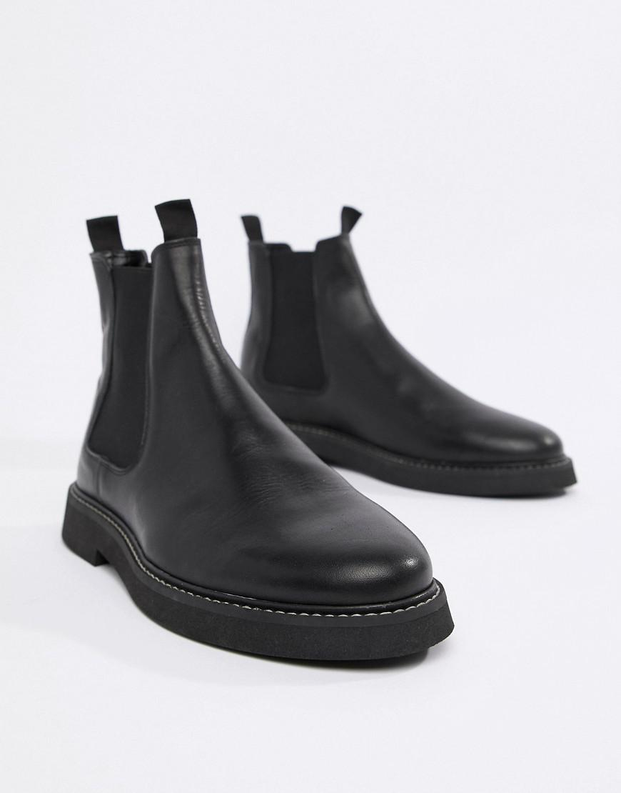 Lyst - ASOS Chelsea Boots In Black Leather With Chunky Sole in Black for Men 6781e6a0989