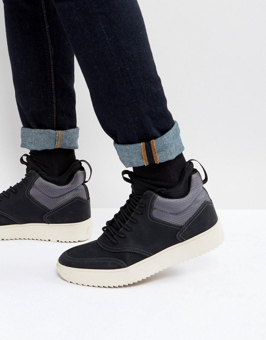 Zerodawn Hi Top Trainers In Black - Black Steve Madden