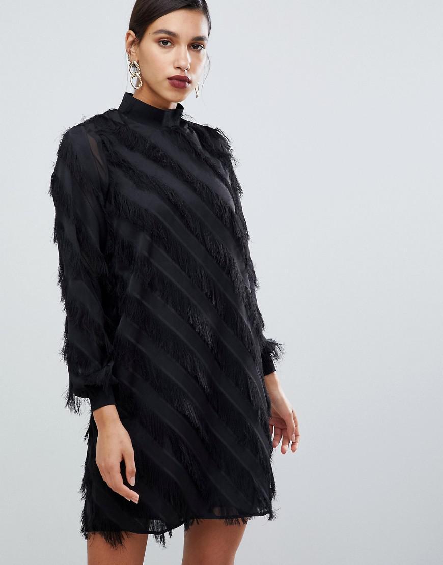 Black Fringe around Neck Dress