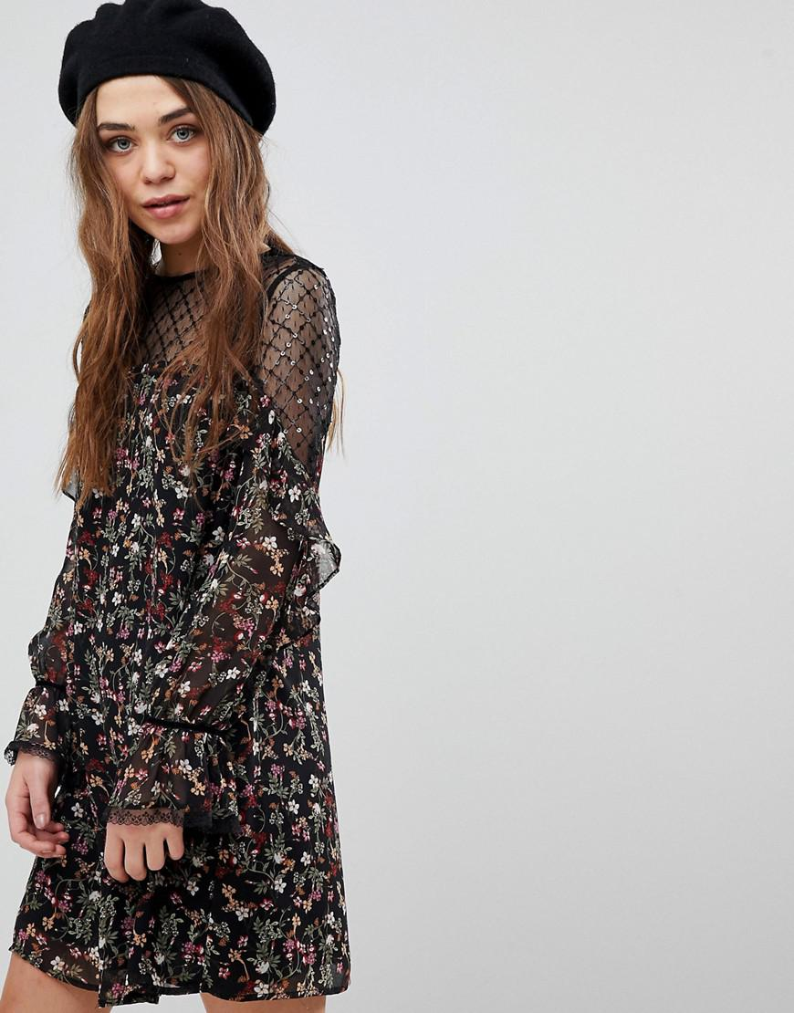 Womens Ruffle Yoke Tunic Dress New Look iXE8y1