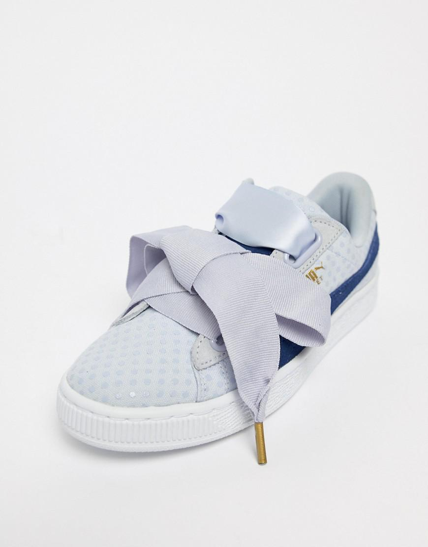 a342f7f8a15 PUMA Basket Heart Denim Trainer In Blue in Blue - Lyst