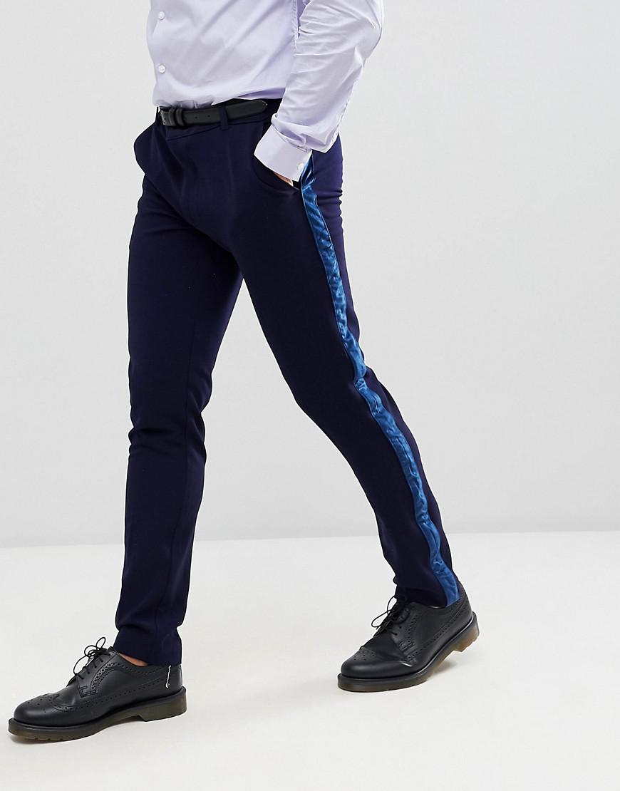 63b5df659d0d BoohooMAN Skinny Suit Pants With Velvet Side Stripe In Navy in Blue ...