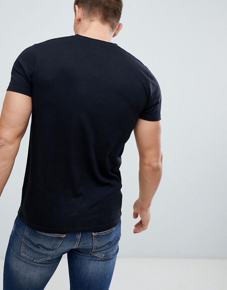 2bc9b97d Hollister Solid Core V-neck T-shirt Seagull Logo Slim Fit In Black in Black  for Men - Lyst