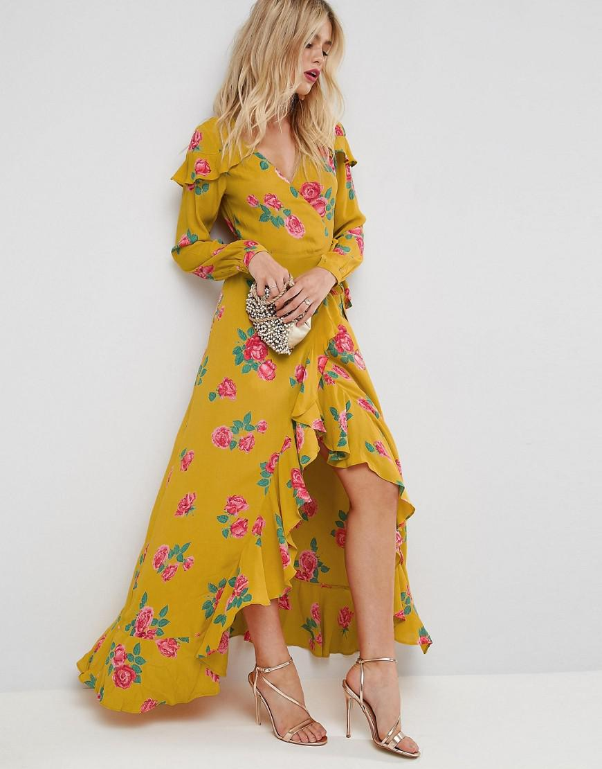 8ca0b9fe3e2fc ASOS Long Sleeve Wrap Maxi Tea Dress In Bold Floral in Yellow - Lyst