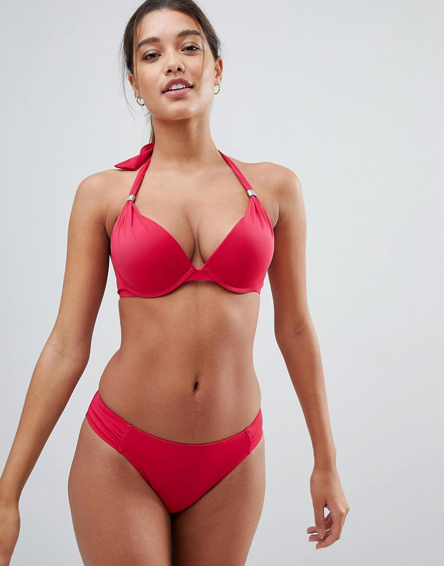 Red Super Push Up Bikini Top - Red Dorina