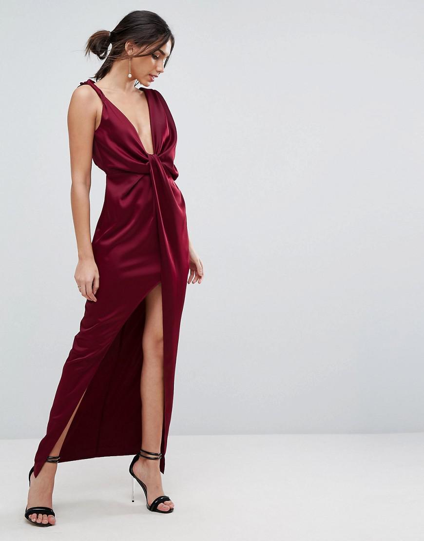 0a2e94c947 Lyst - ASOS Asos Drape Satin Maxi Dress in Red