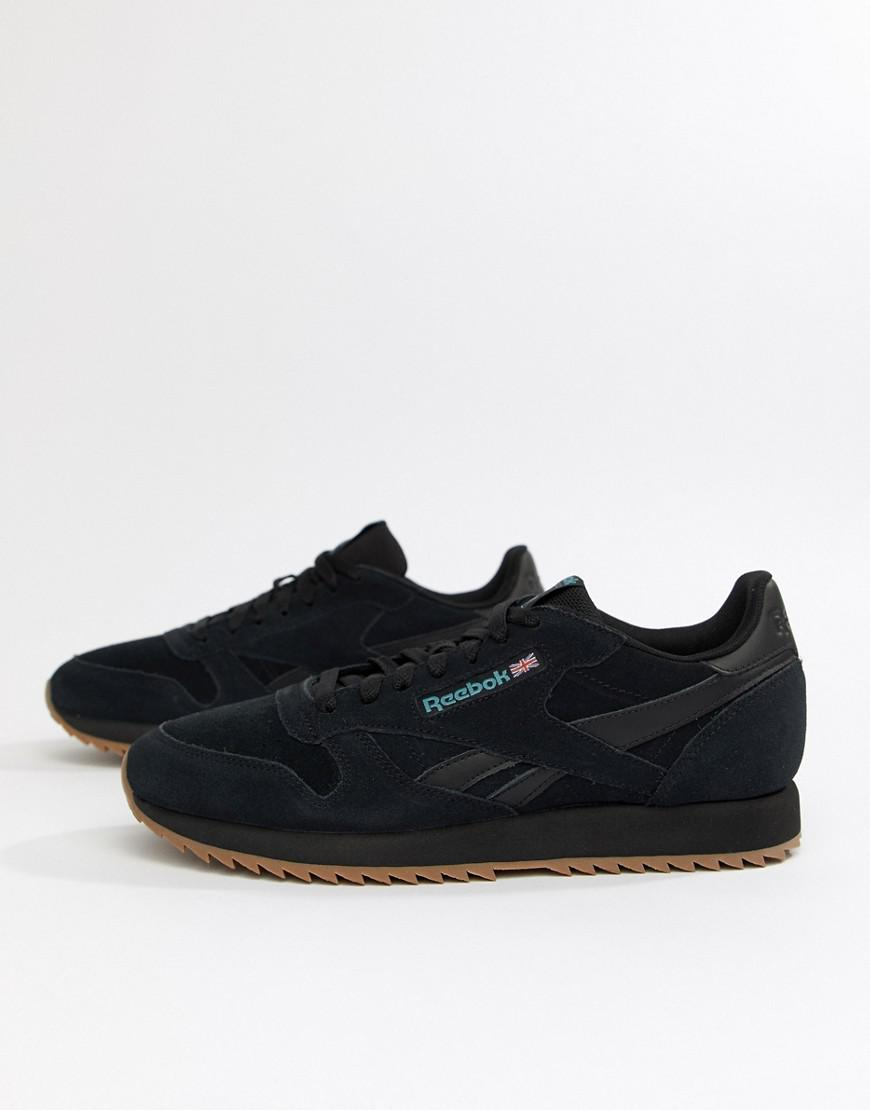 bd0ac02611e336 Reebok - Cl Suede Mu Ripple Trainers Triple Black for Men - Lyst. View  fullscreen