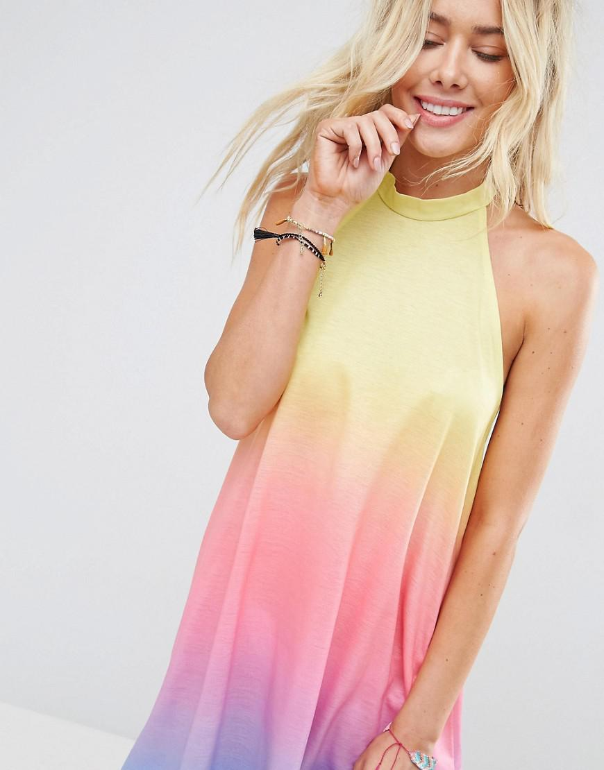 90acfe493f ASOS Beach Rainbow Ombre Halter Cover Up in Pink - Lyst