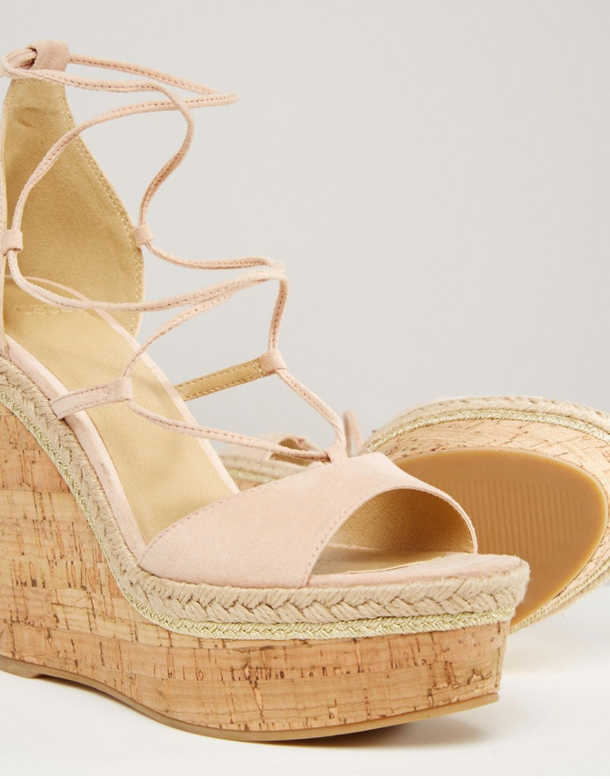 3e46870fa294 Asos Asos Tammi Lace Up Wedge Sandals in Pink - Lyst
