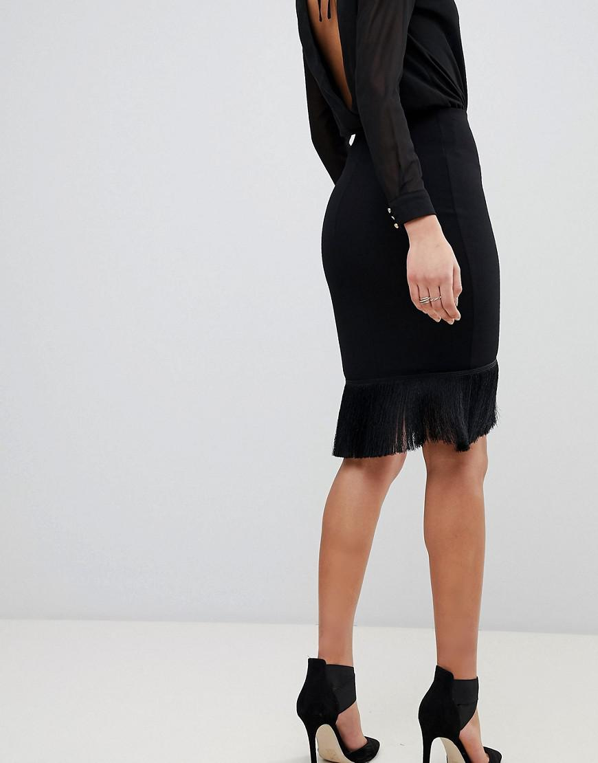 e6157899b Flounce London Wrap Front Skirt With Fringing in Black - Lyst
