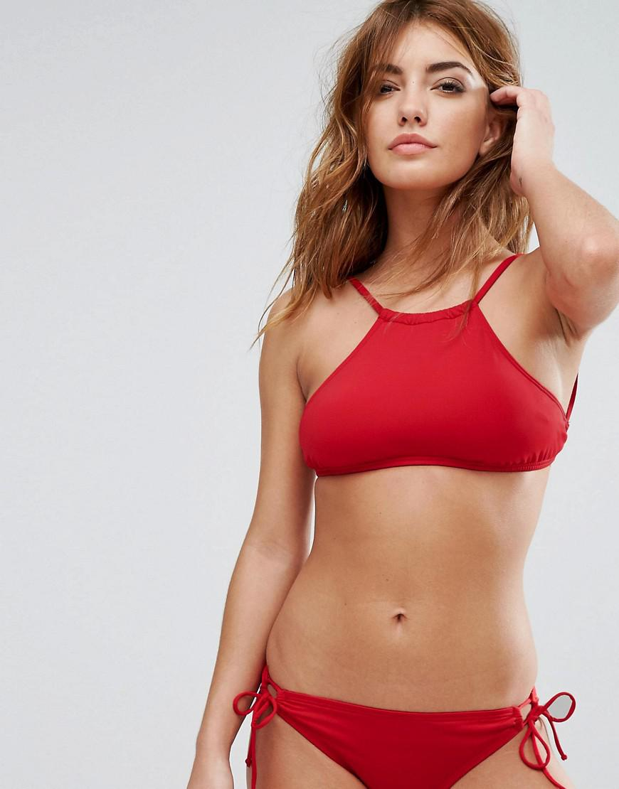 993349e218c89 Lyst - Bikini Lab High Neck Bikini Top in Red
